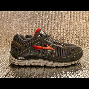 Brooks Addiction A12 Athletic Running Shoes Grey/Red Lace up Men's Size 8.5 Wide